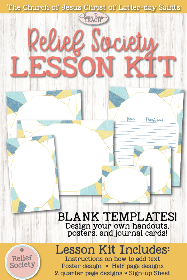 Relief Society Blank Editable Lesson Kit