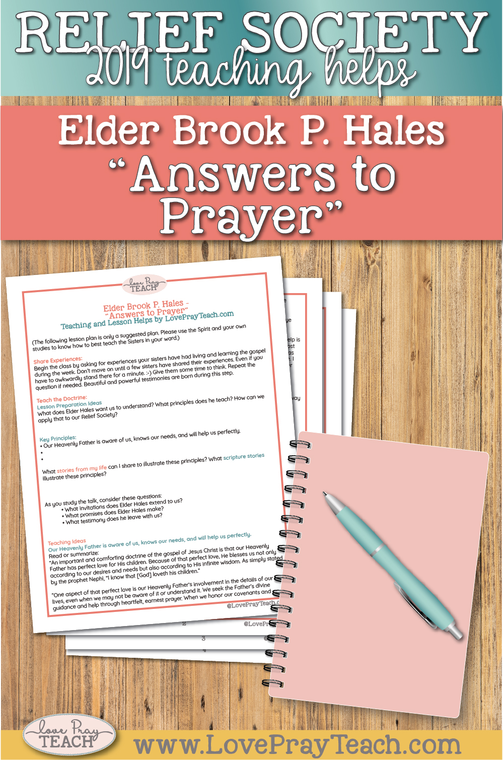 """Elder Brook P. Hales: """"Answers to Prayer"""" April 2019 General Conference Relief Society Teaching Helps"""