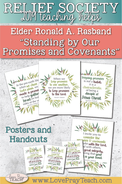 """General Conference October 2019: Elder Ronald A. Rasband """"Standing by Our Promises and Covenants"""" Printable Lesson Helps and Handouts www.LovePrayTeach.com"""