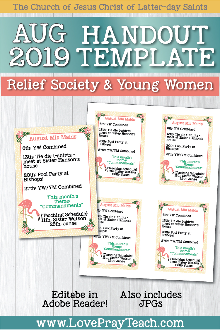 Editable handouts! Use these to type up upcoming activities, mutual nights, teaching schedule, favorite quotes, scriptures, and more! 4 handouts on an 8.5x11 page! www.LovePrayTeach.com