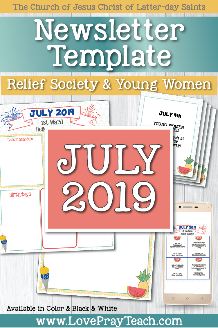 July 2019 Editable Newsletter Template and Sunday Lesson Calendars for Relief Society and Young Women