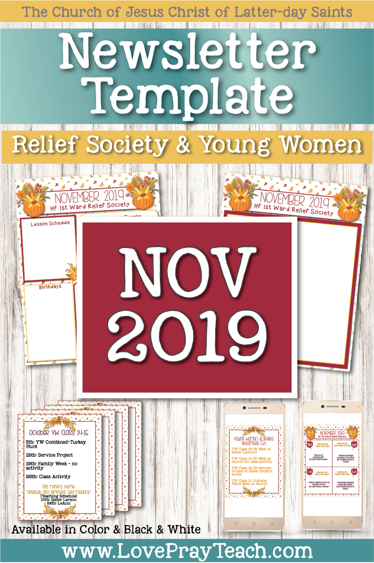 November 2019 Editable Newsletter Packet www.LovePrayTeach.com