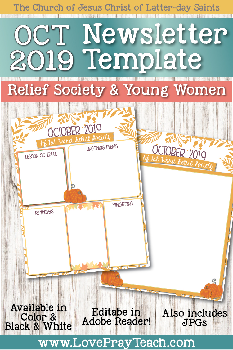 October 2019 Editable Newsletter Template www.LovePrayTeach.com