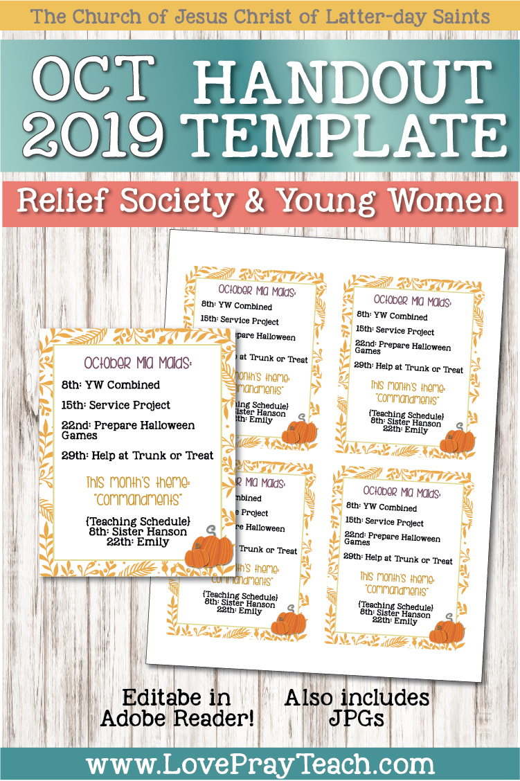 October 2019 Editable blank handouts! www.LovePrayTeach.com