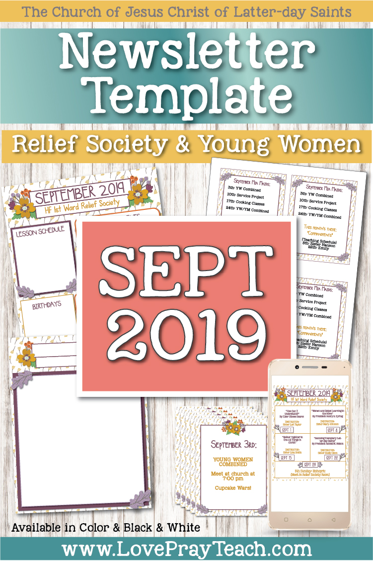 September 2019 Editable Newsletter Template, Sunday Lesson Calendar, Blank Social Media image, and handouts! All EDITABLE in Adobe Reader! www.LovePrayTeach.com
