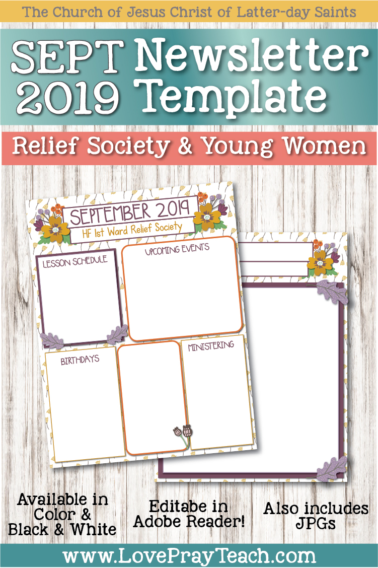 September 2019 Editable Newsletter Template www.LovePrayTeach.com