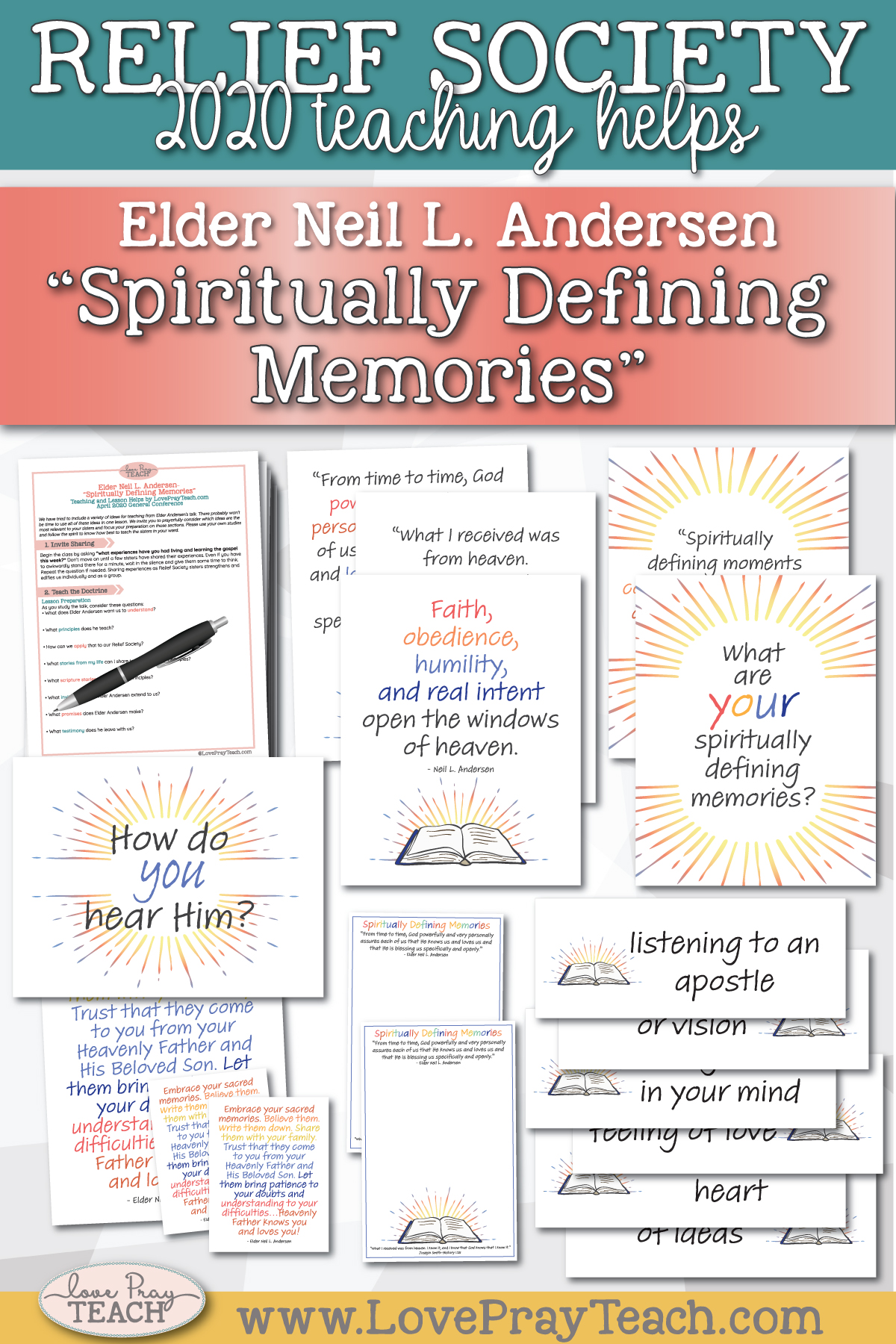 "April 2020 General Conference: Elder Neil L. Andersen - ""Spiritually Defining Memories"" Printable Lesson Helps and Handouts for Latter-day Saints"