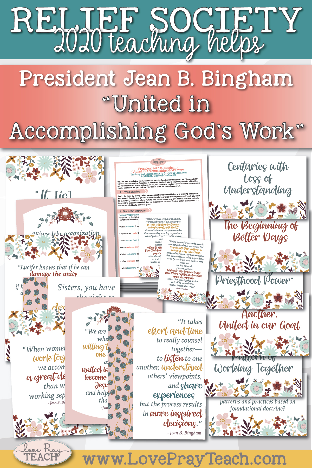 "April 2020 General Conference: President Jean B. Bingham - ""United in Accomplishing God's Work"" Printable Lesson Helps and Handouts"