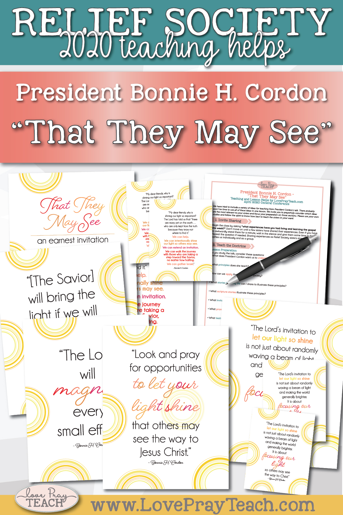 "April 2020 General Conference: President Bonnie H. Cordon - ""That They May See"" Printable Lesson Helps and Handouts for Latter-day Saints"