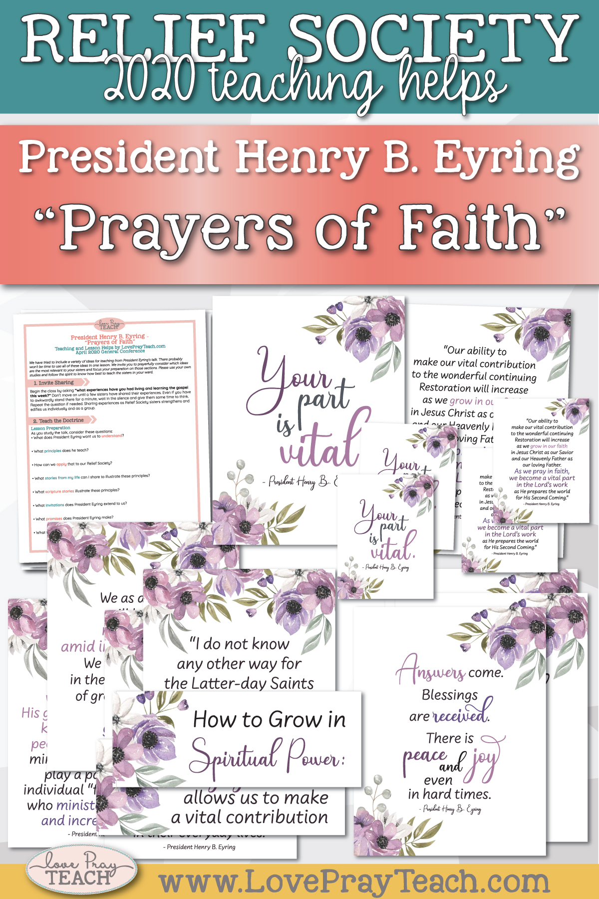 "April 2020 General Conference: President Henry B. Eyring - ""Prayers of Faith"" Printable Lesson Helps and Handouts for Latter-day Saints"
