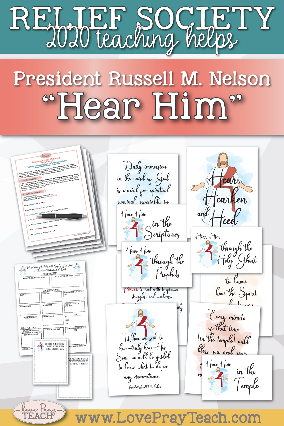 "April 2020 General Conference: President Russell M. Nelson - ""Hear Him"" Printable Lesson Helps and Handouts"