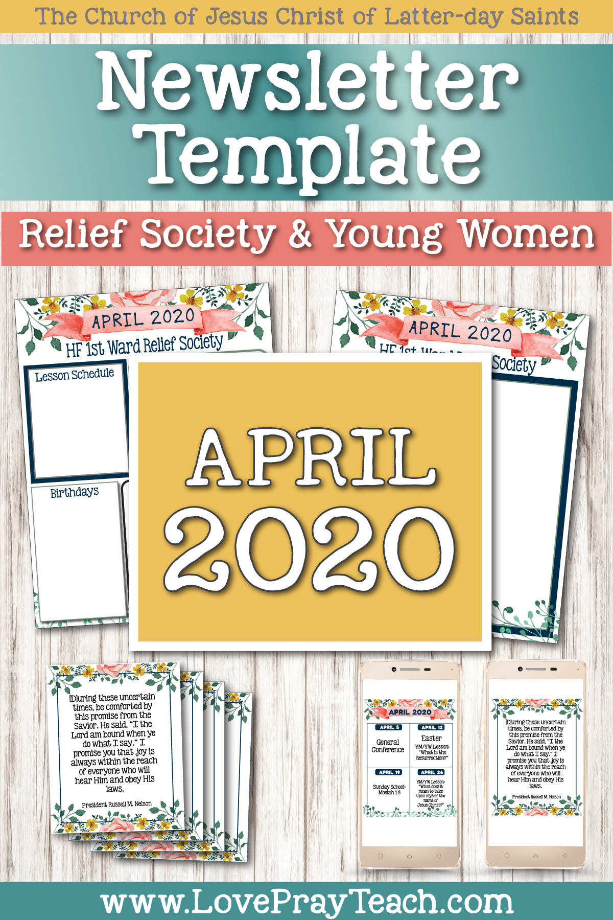 April 2020 Editable Newsletter Bundle! Includes templates for newsletter, Sunday or Tuesday lesson schedule, blank social media post, and blank handouts! www.LovePrayTeach.com