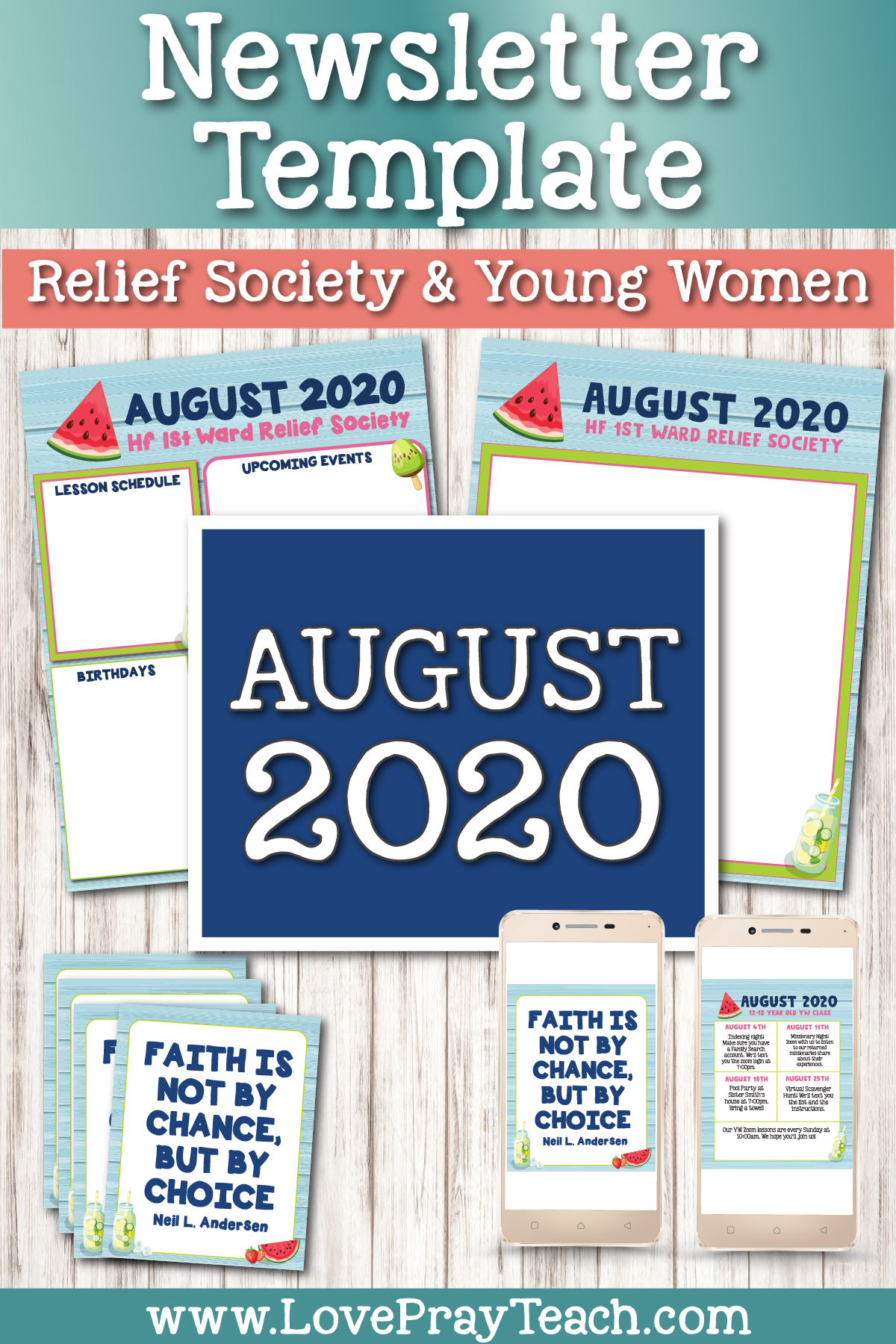 August 2020 Editable Newsletter Bundle www.LovePrayTeach.com