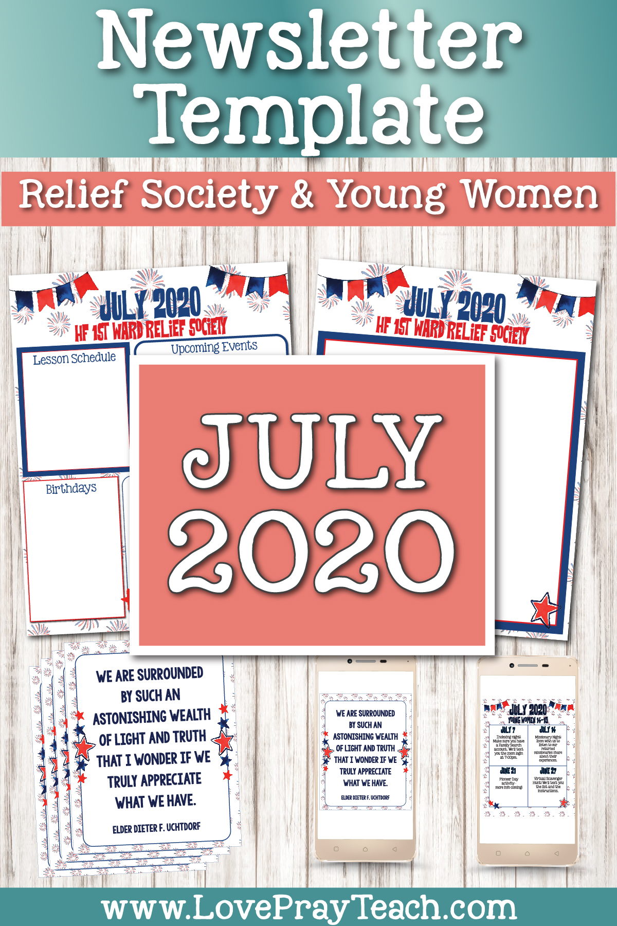 July 2020 Editable Newsletter Bundle for Relief Society or Young Women www.LovePrayTeach.com