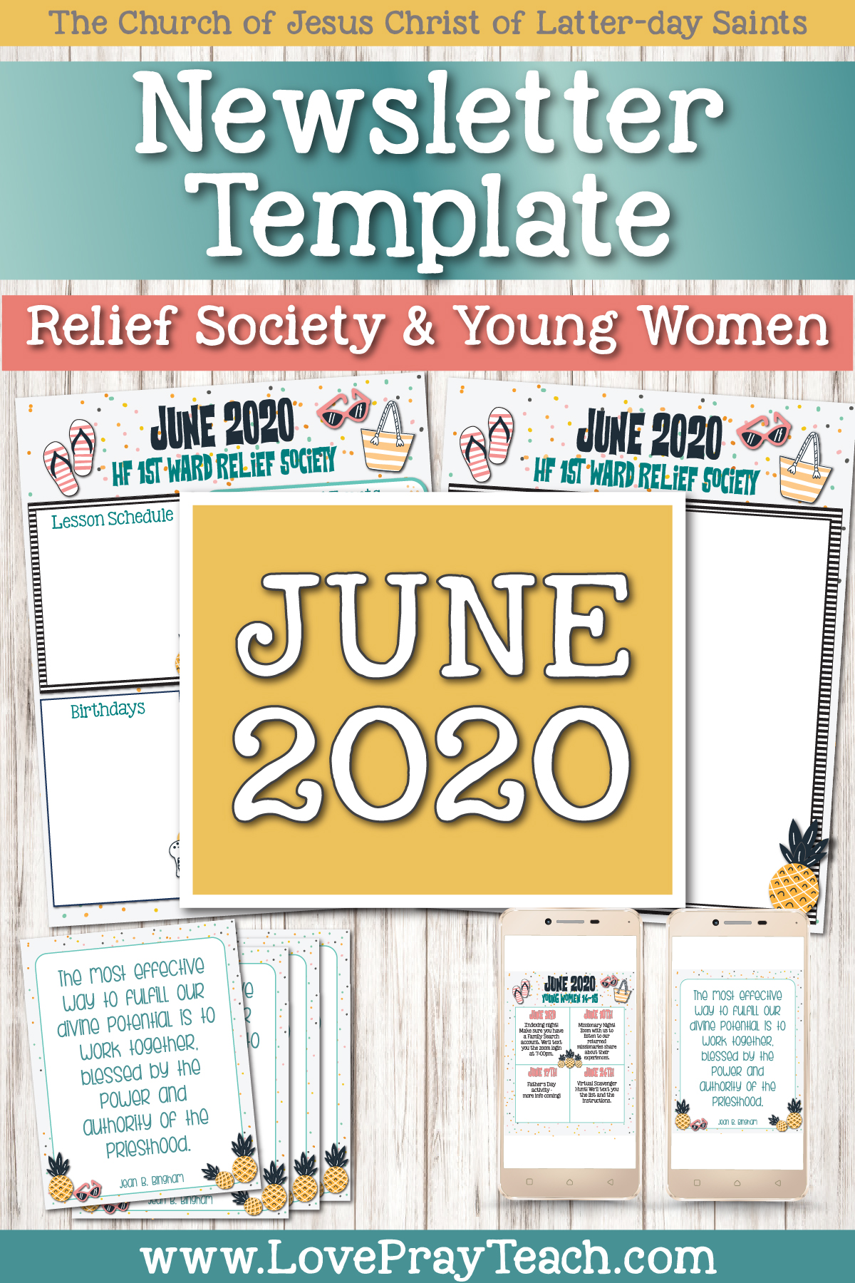 June 2020 Editable Newsletter Bundle for Relief Society or Young Women www.LovePrayTeach.com