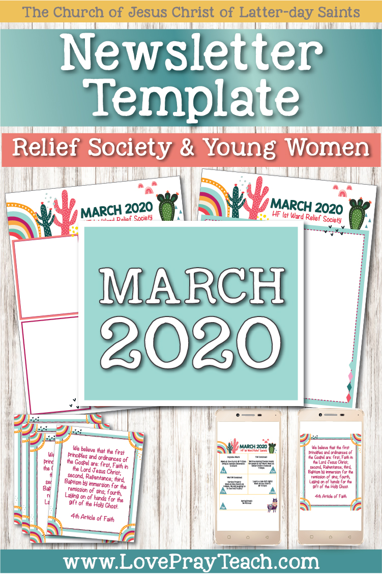 March 2020 Editable Newsletter Bundle for Relief Society and Young Women www.LovePrayTeach.com