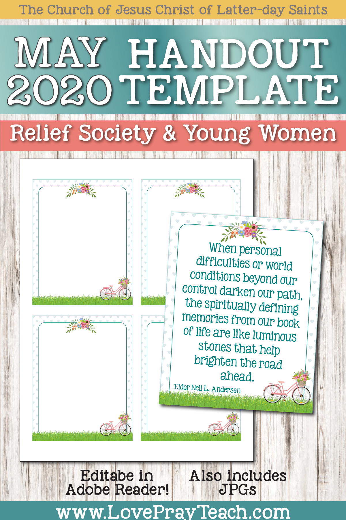 Our editable newsletter bundle is designed for Relief Society and Young Women classes! Help your class stay informed of upcoming events, birthdays, activities, Ministering, etc! We include easy to follow instructions to add text in Adobe Reader (free program!) You can print, email, post to social media, text, or add to Circles! www.LovePrayTeach.com #EditableNewsletter #May2020