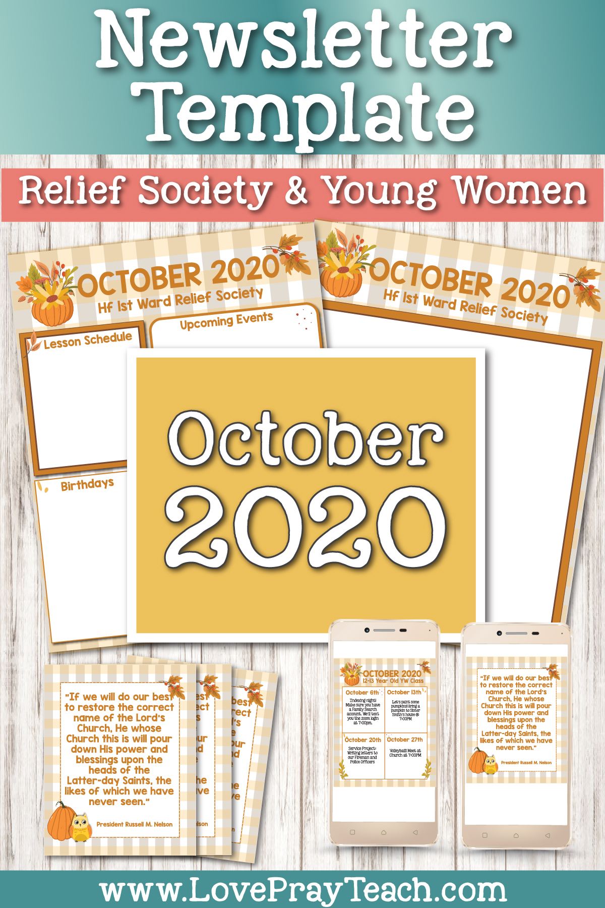 October 2020 Editable Newsletter Template Bundle www.LovePrayTeach.com