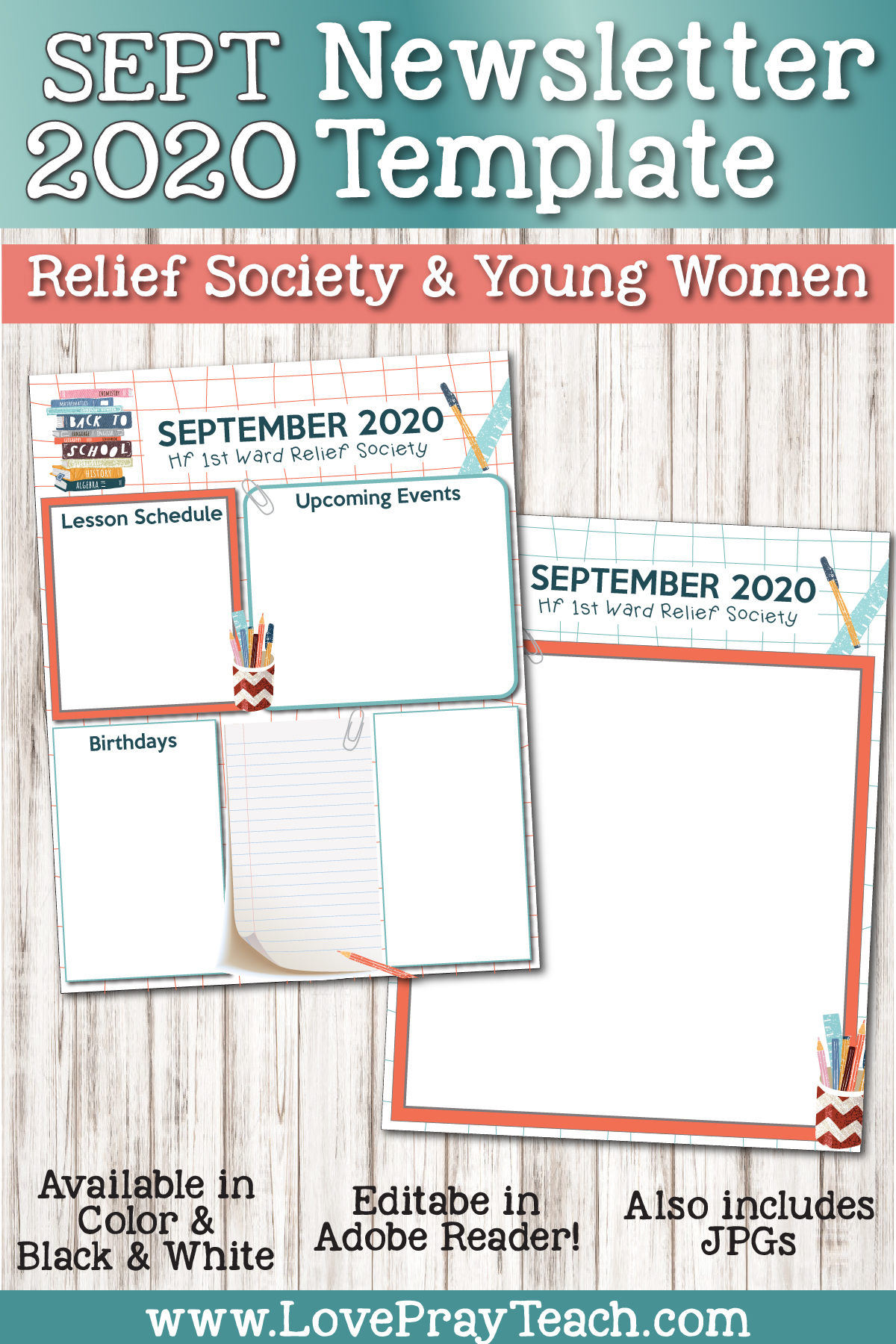 September 2020 Newsletter Bundle for Relief Society and Young Women
