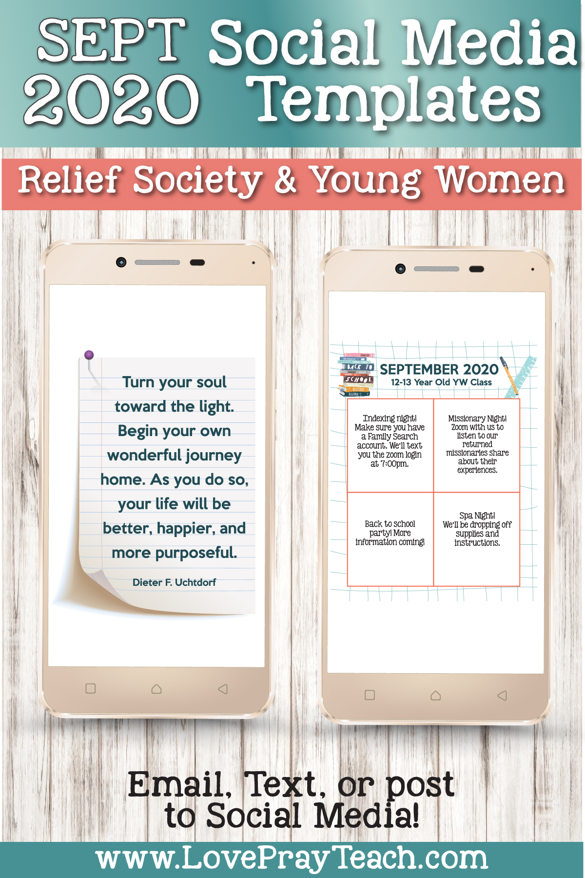 September 2020 Newsletter Bundle for Relief Society and Young Women www.LovePrayTeach.com