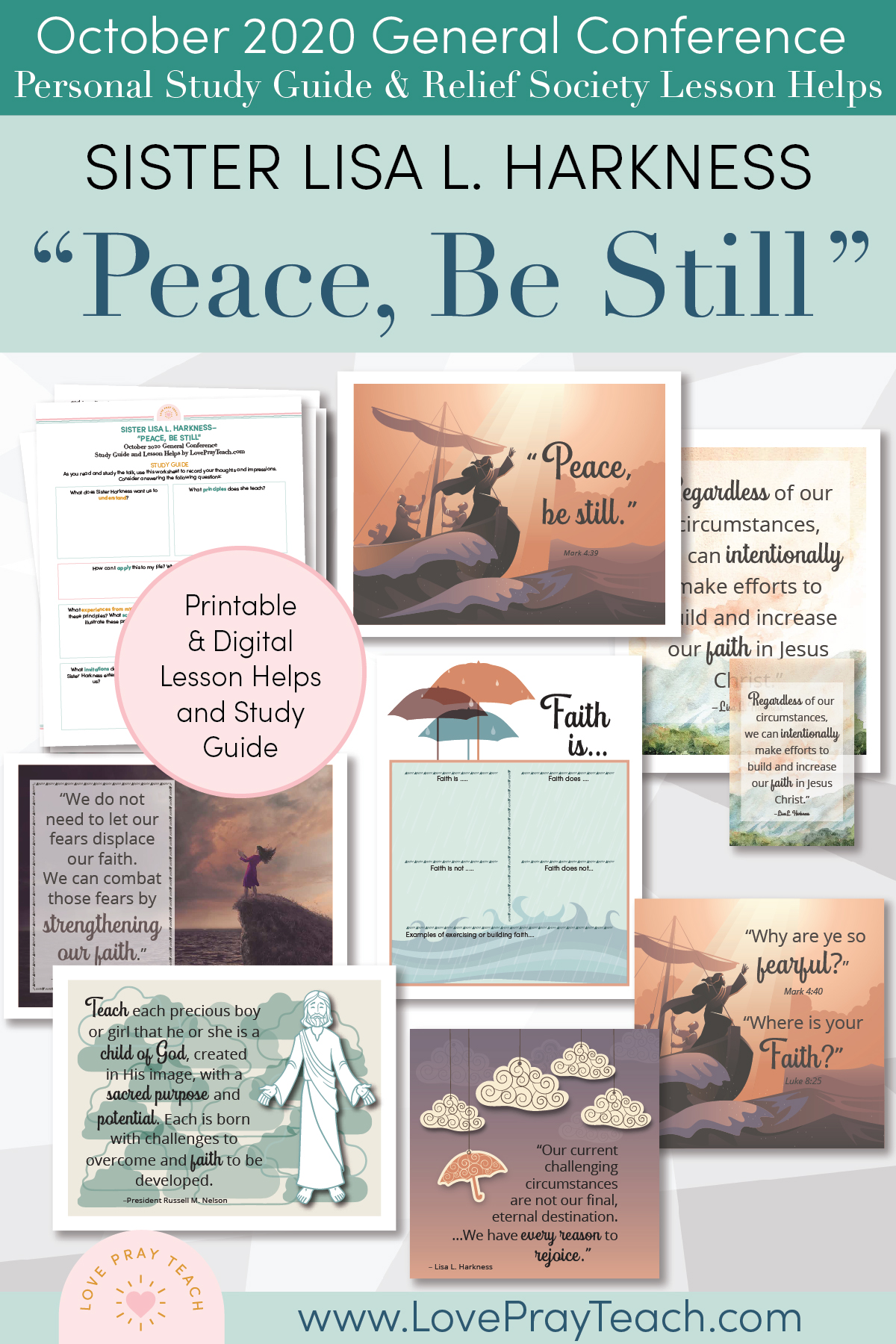 "October 2020 General Conference: Sister Lisa L. Harkness - ""Peace, Be Still "" Printable Study Guide and Lesson Helps"