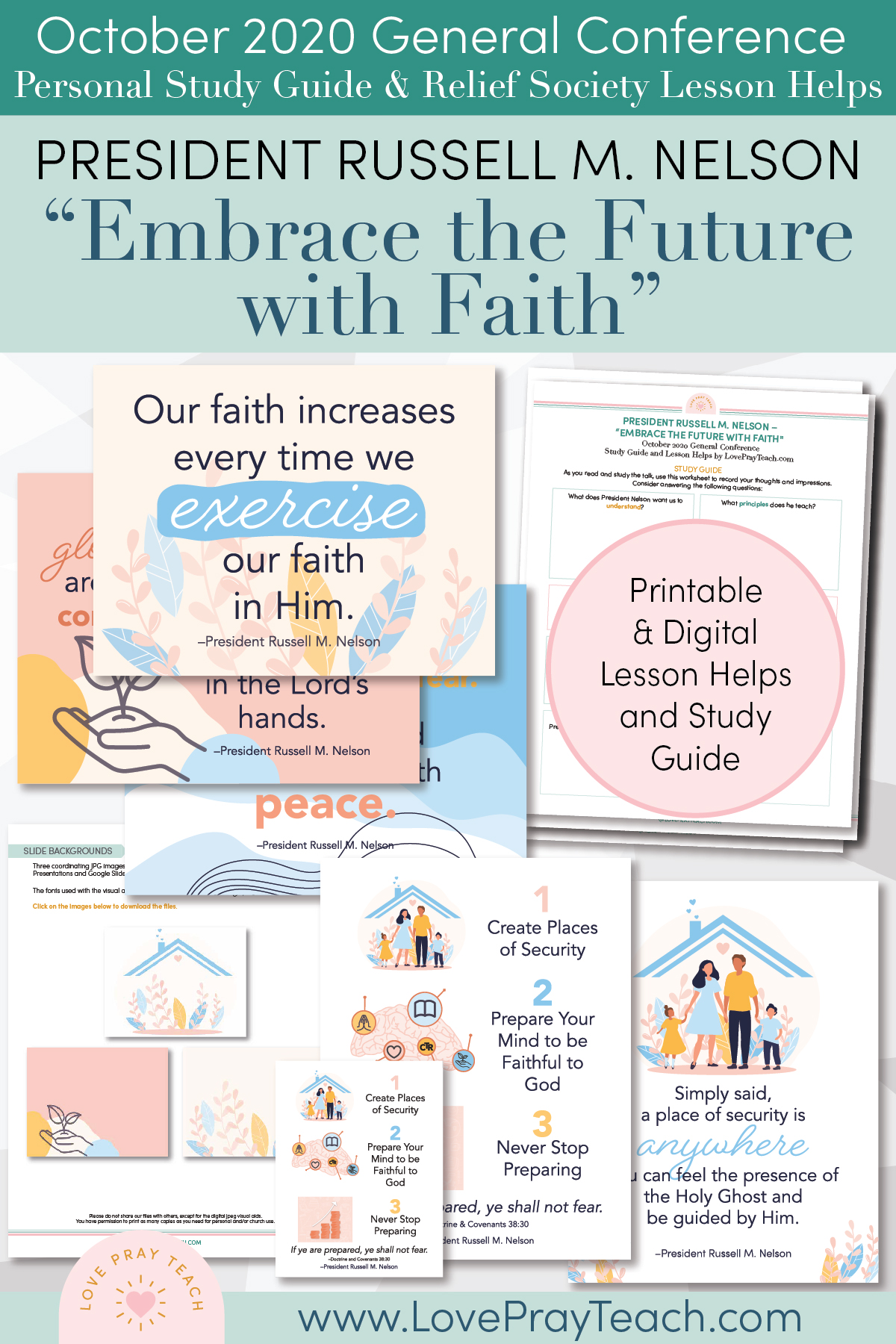 "October 2020 General Conference: President Russell M. Nelson - ""Embrace the Future with Faith"" Printable Study Guide and Lesson Helps for Latter-day Saints"