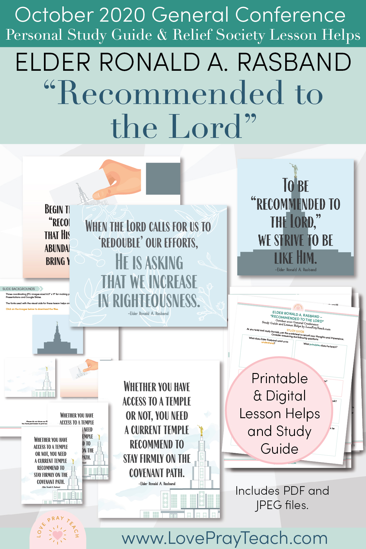 "October 2020 General Conference: Elder Ronald A. Rasband - ""Recommended to the Lord"" Printable Study Guide and Lesson Helps for Latter-day Saints"