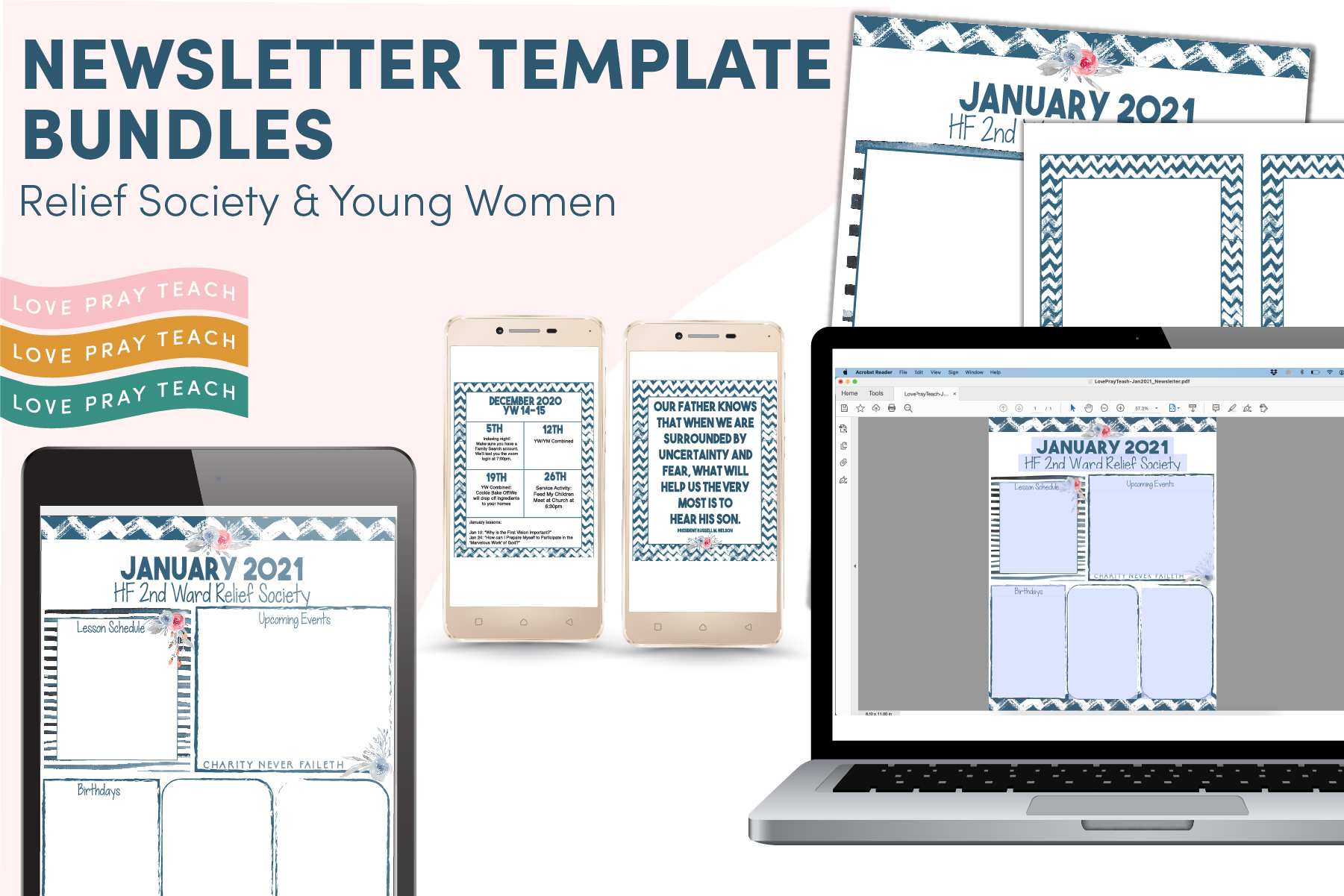 Editable Newsletter Templates and more! www.LovePrayTeach.com