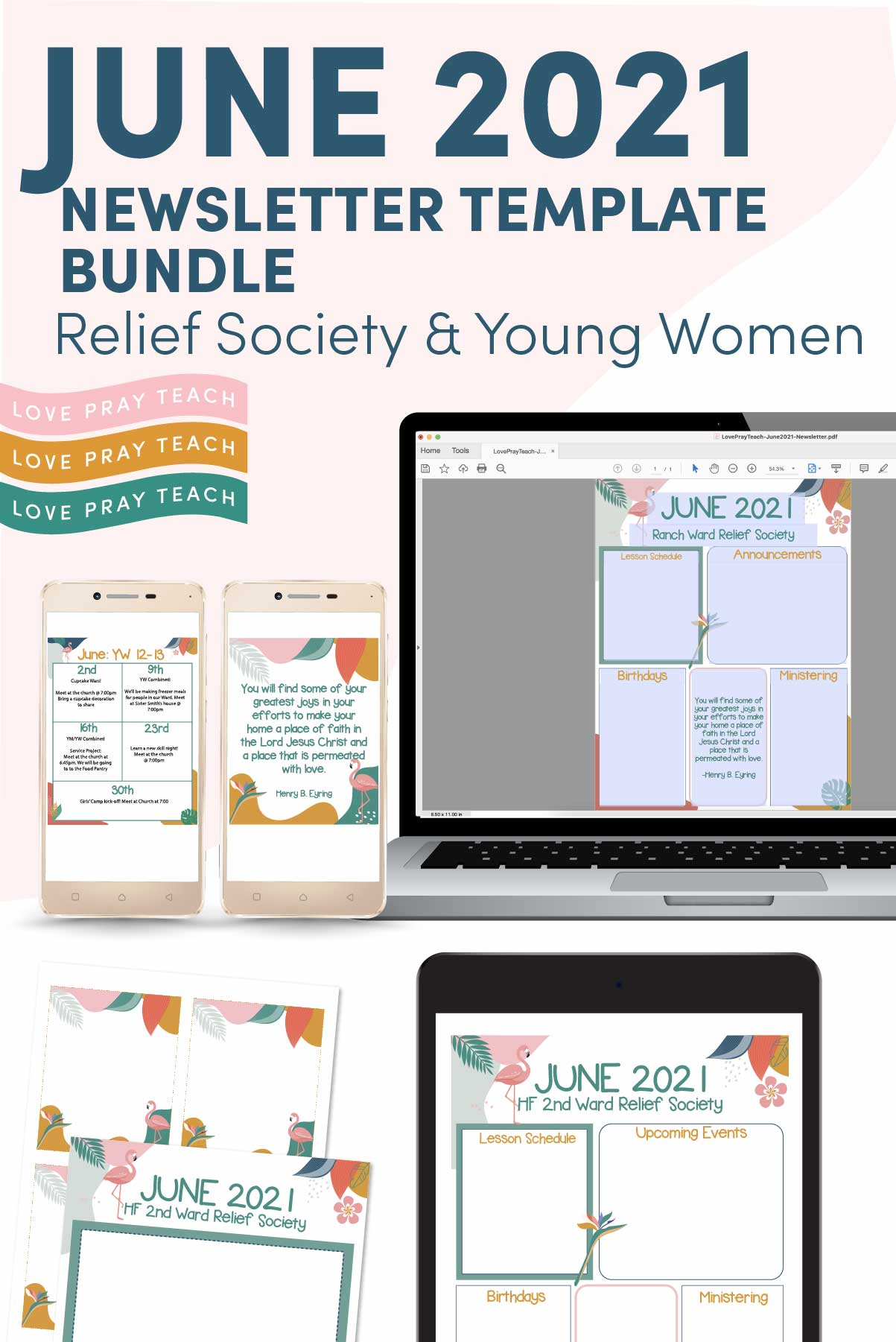 June 2021 Editable Newsletter Template Bundle for Relief Society or Young Women www.LovePrayTeach.com
