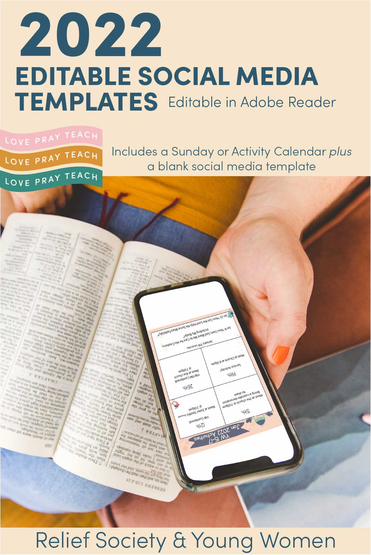 Editable Newsletter Bundles including social media template and Sunday or Activity day calendar www.LovePrayTeach.com
