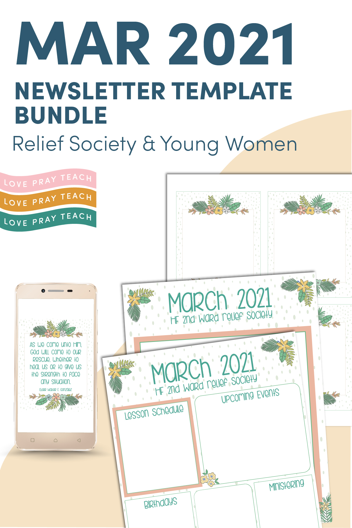 March 2021 Editable Newsletter template Bundle www.LovePrayTeach.com