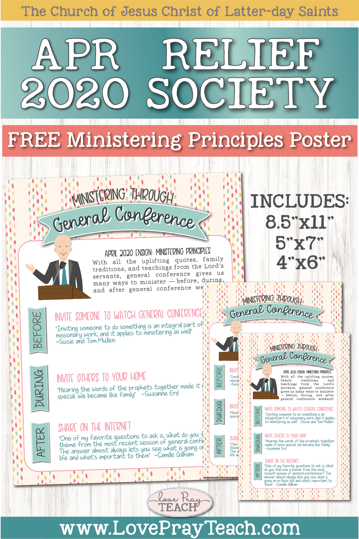 "Free April 2020 Ministering Principle Download ""Ministering Through General Conference"" www.LovePrayTeach.com"