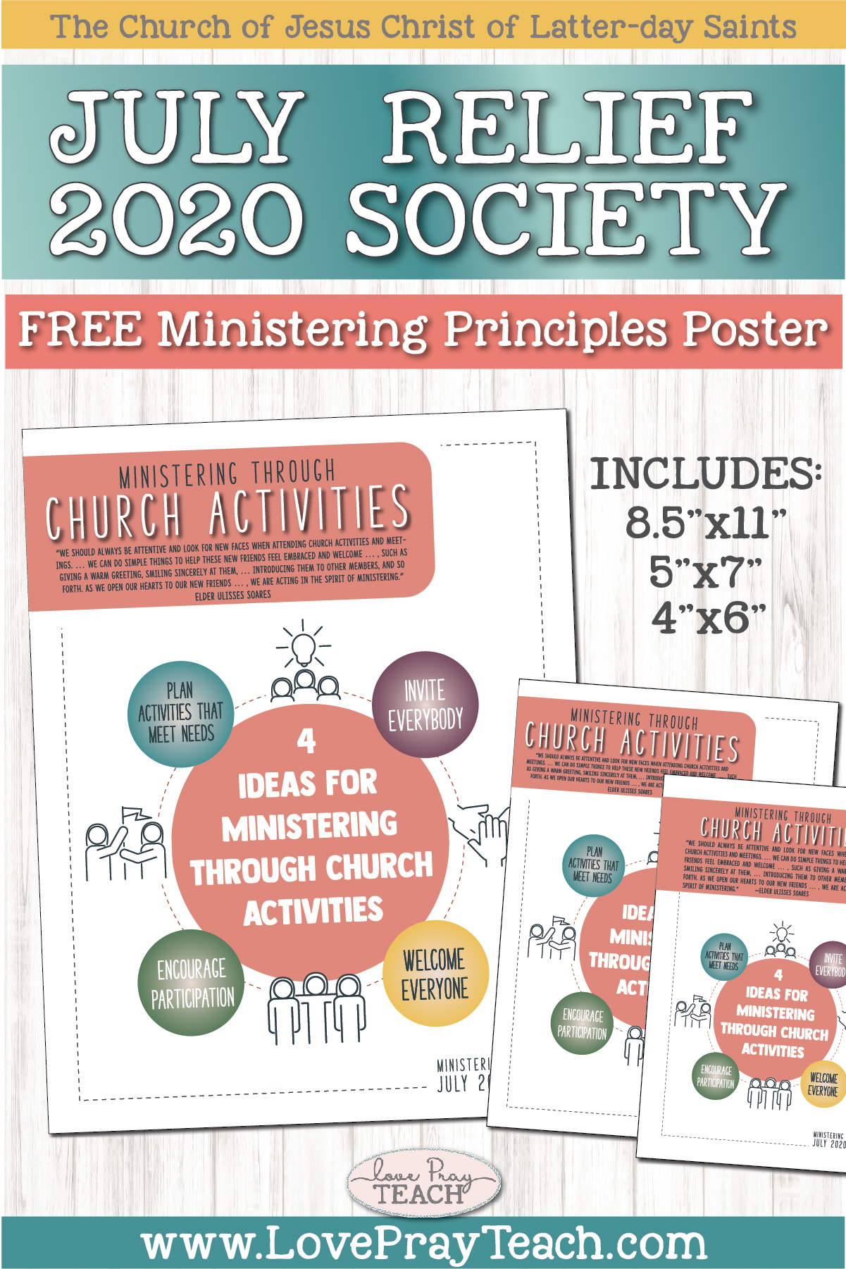 July 2020 Free Ministering Principles Poster and Handout for Relief Society www.LovePrayTeach.com