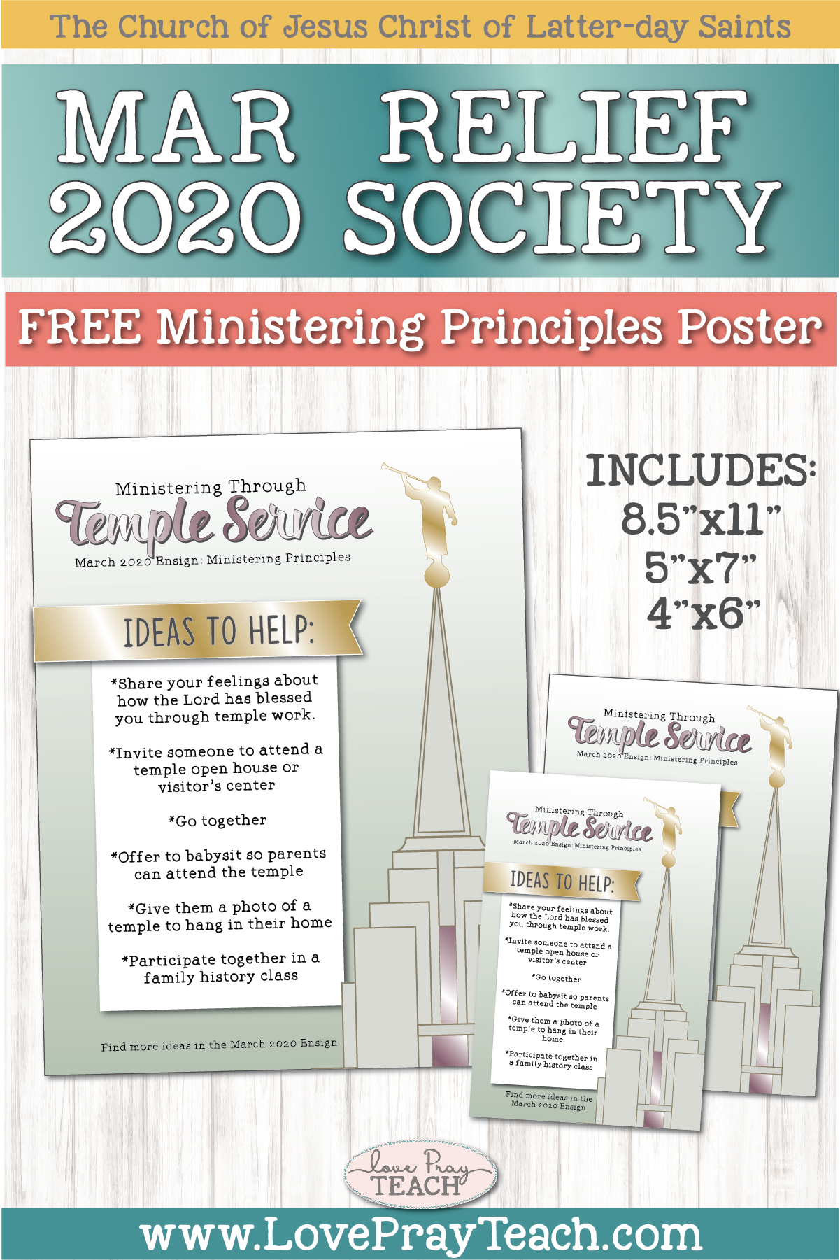 "March 2020 Ministering Principles ""Ministering through Temple Service"" Printable Poster and Handout www,LovePrayTeach.com"