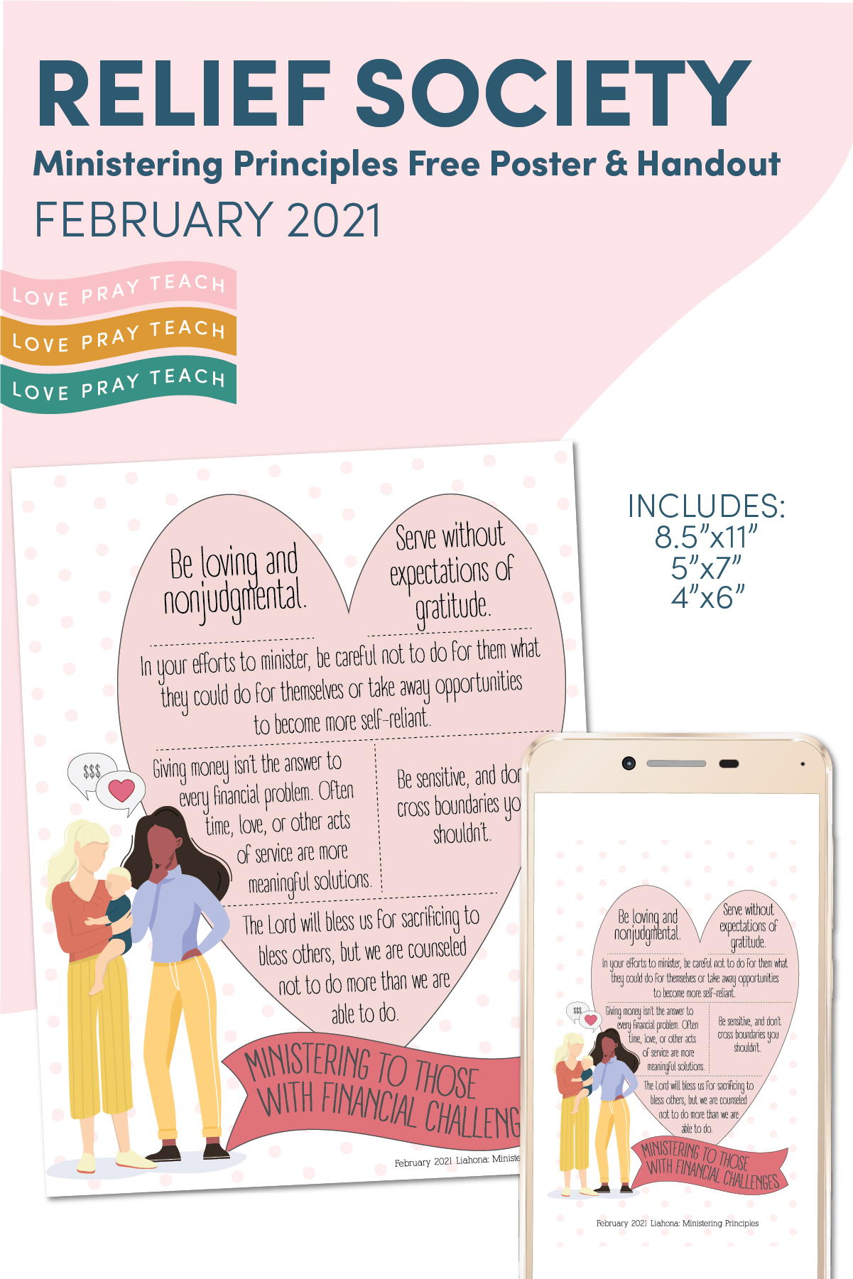 February 2021: Free Ministering Principles Poster, Handout, and Social Media post www.LovePrayTeach.com