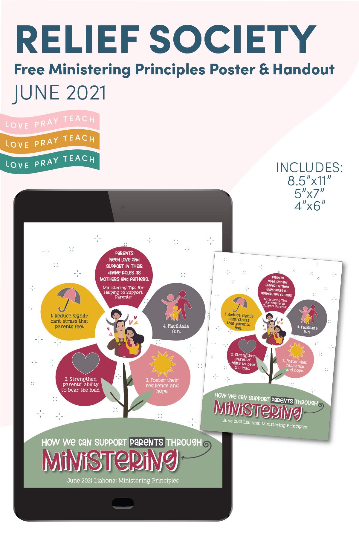 June 2021 Ministering Principle Handout and Posters for Relief Society www.LovePrayTeach.com