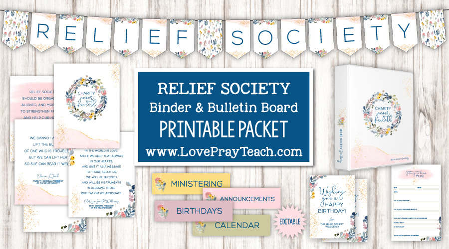 Relief Society binder and bulletin board packet www.LovePrayTeach.com