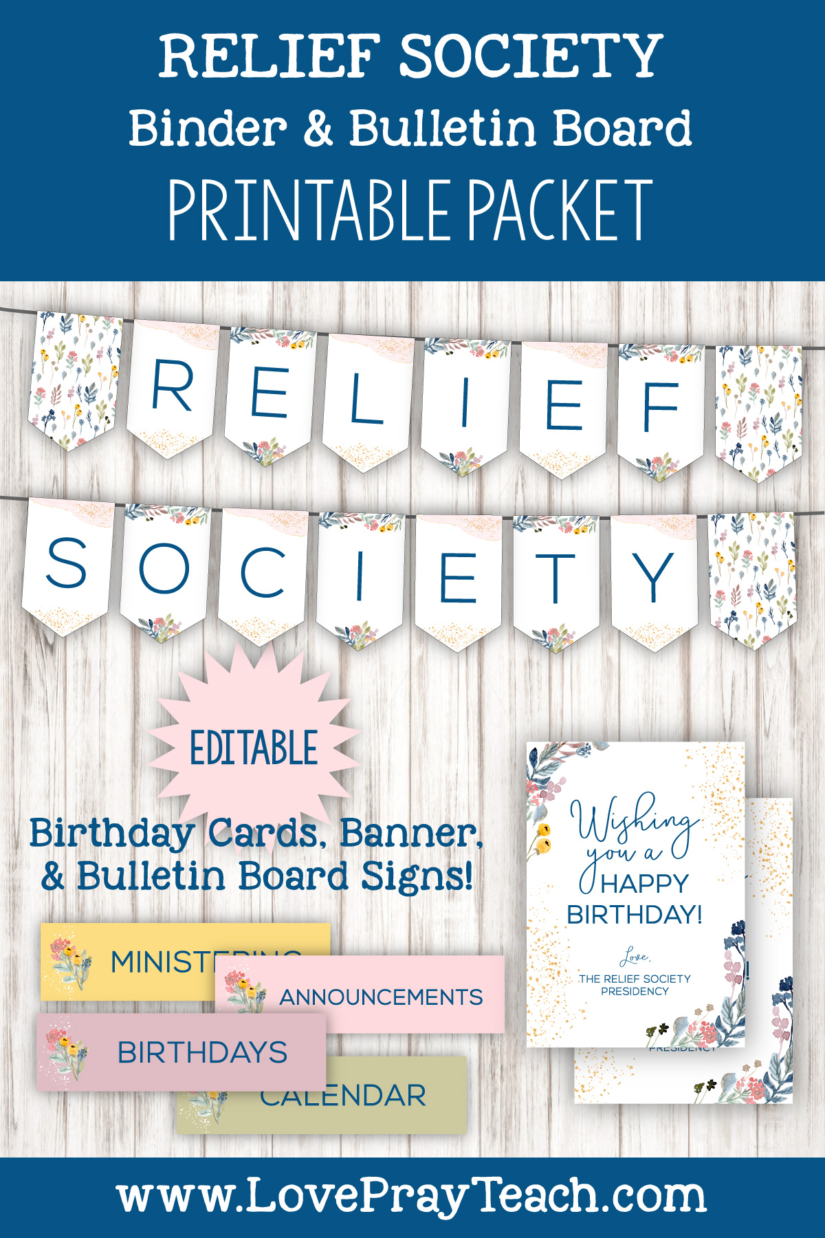 Relief Society Bulletin Board and Binder Printable Packet by LovePrayTeach.com