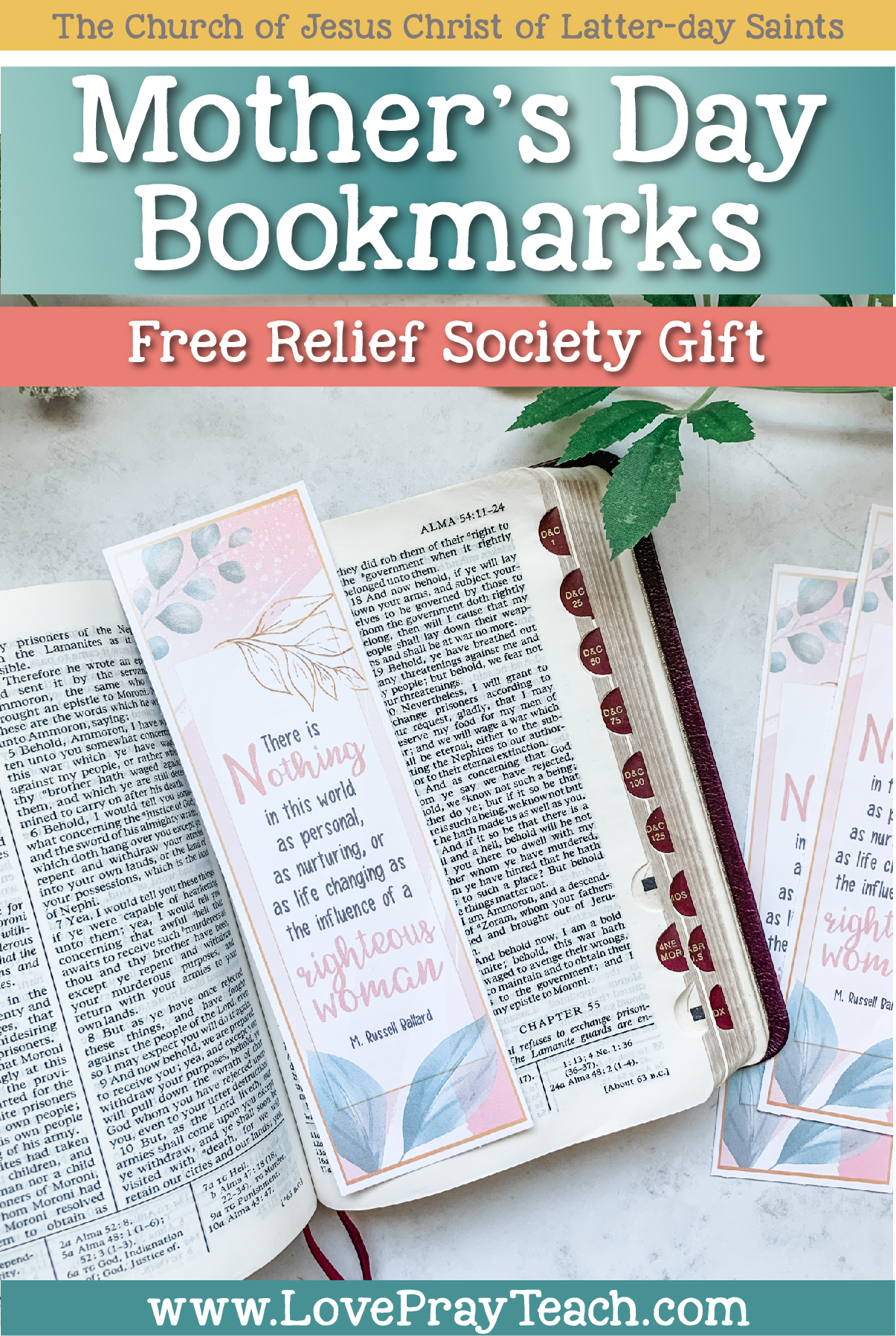 Free Mother's Day Bookmarks for Relief Society www.LovePrayTeach.com
